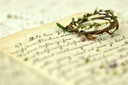 heather: Heather wreath on a diary