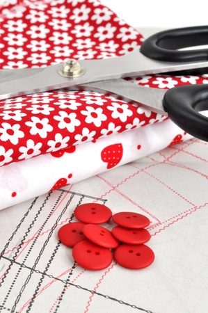 Sewing items on sewing pattern Stock Photo - 8684281