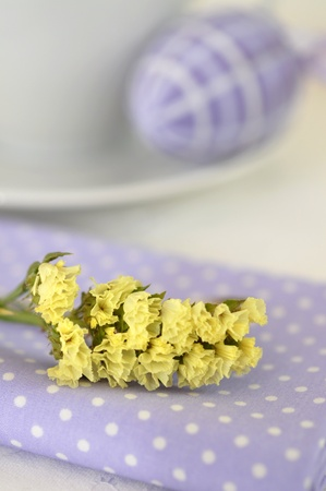 Cup of tea, flower and Easter egg Stock Photo - 9214765