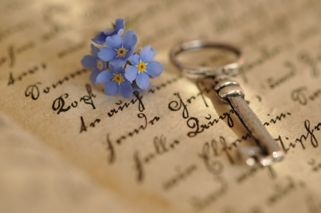 Vintage key and forget-me-nots on an old diary