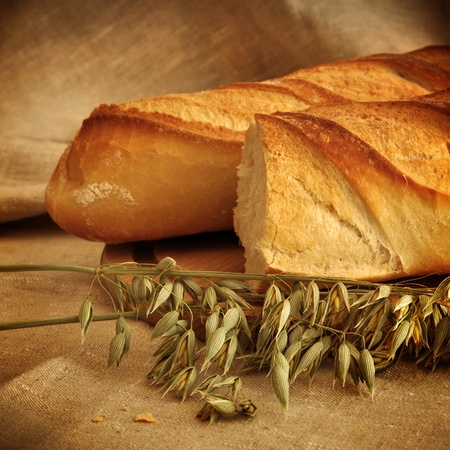 Two loafs of bread and oat Stock Photo - 9977364