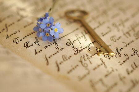 Vintage key and forget-me-nots on an old diary photo