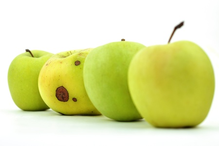 Rotten Apple in einer Zeile der perfekte, isoliert auf weiss Lizenzfreie Bilder
