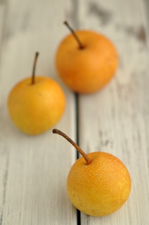 Nashi pears on a table photo