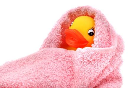 pato de hule: Patito de goma envueltas en toalla rosa suave, aislado en blanco