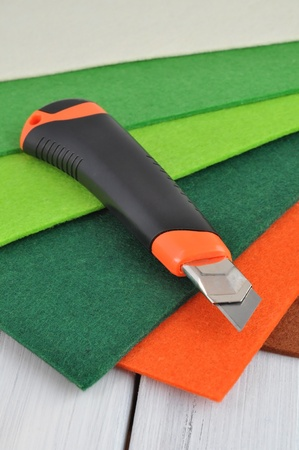 table scraps: Colorful felt and art knife