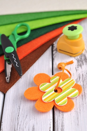 table scraps: Springtime crafting supplies Stock Photo