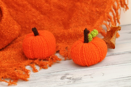 Knit orange pumpkin decoration photo