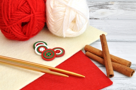 Knitting for Christmas with red and white yarn photo