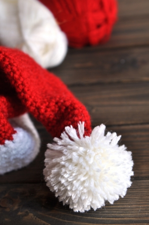 Crochet santa hat with red and white yarn photo