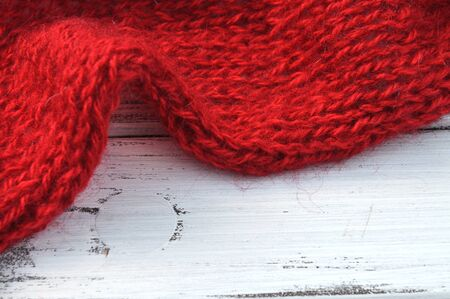 Soft red mohair knit frame photo