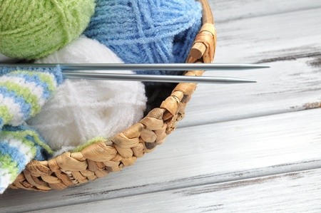 ball of wool: Knitting with colorful yarn Stock Photo