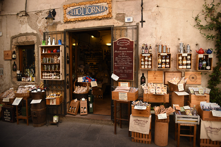 Typical Tuscan store with local produce. Pitigliano, Italy