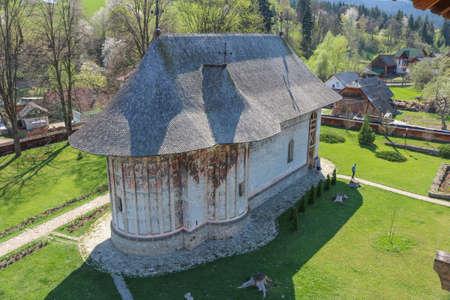 Monastery in Mănăstirea Humorului, Bukovina region. Romania. I have taken this photo in April 2018 during my visit of Romania