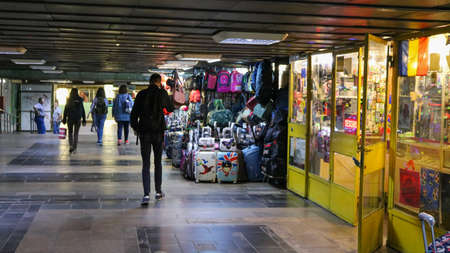 Bucarest Metro underground passageway with shops. I have taken this photo in April 2018 during my visit of Romania