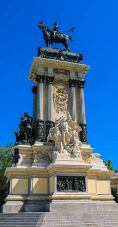 Alfonso XII Monument in Madrid. Shoot in July 2018