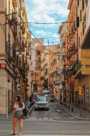 Street in Tarragona. The photo was taken in June 2018 during the Mediterranean games in Tarragona