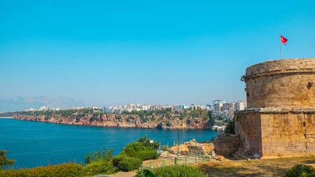 Hidirlik Tower During the day. Shoot in Antaya, Turkey in July 2018 版權商用圖片