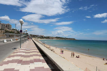 Platja del Miracle beach in Tarragona.The photo was taken in June 2018 during the Mediterranean games in Tarragona