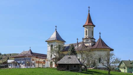 Monastery in Manastirea Humorului, Bukovina region. Romania. I have taken this photo in April 2018 during my visit of Romania Stok Fotoğraf