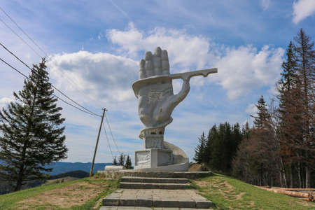 Pasul ciumarna hand statue in Bukovina. I have taken this photo in April 2018 during my visit of Romania