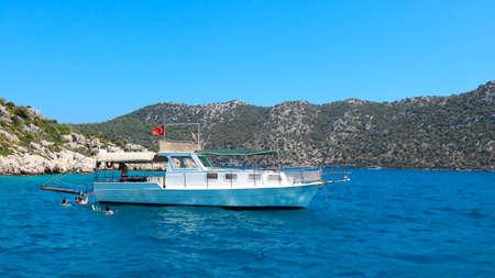 Boat ride next to Kekova islands. Near Antalya Turkey. Shoot in July 2018. The picture was taken in Turkey in July of 2018