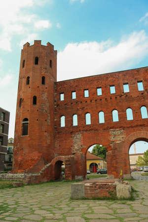 Palatine Towers, or Porta Palatina in Turin, Italy. Taken in July 2018