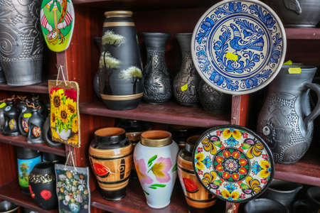 Hand made black pottery in Marginea, in Bukovina. I have taken this photo in April 2018 during my visit of Romania 免版税图像