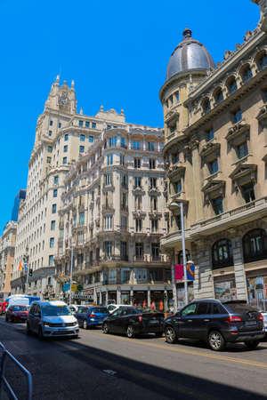 Calle Gran Via street after the gay pride in July 2018, Madrid, Spain.