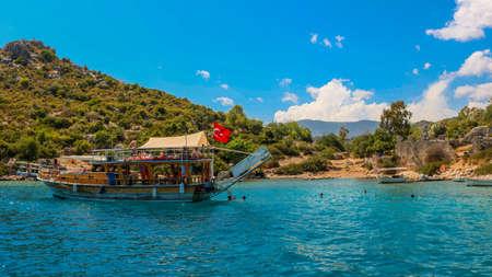 Boat ride next to Kekova islands. Near Antalya Turkey. Shoot in July 2018