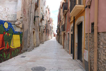 Street in Tarragona taken in June 2018 during the Mediterranean games in Tarragona Editöryel