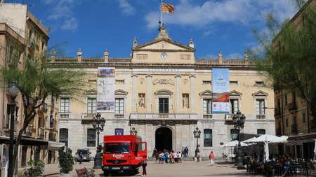 Tarragona Town Hall during Mediterranean games in june 2018