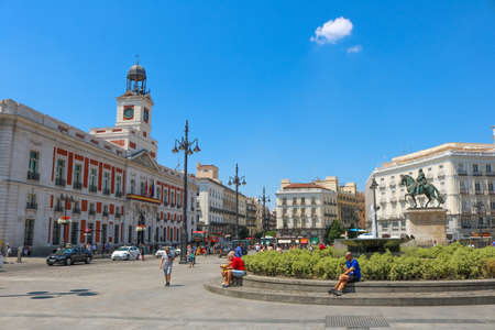 Puerta del Sol during a warm day, Summer 2018, Madrid, Spain.