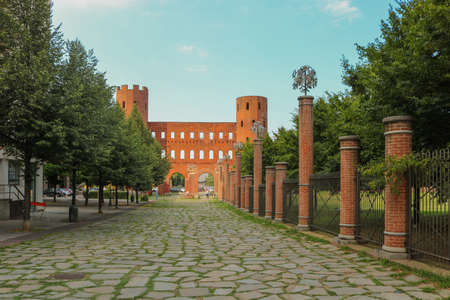 Palatine Towers, or Porta Palatina in Turin, Italy. Taken in July 2018