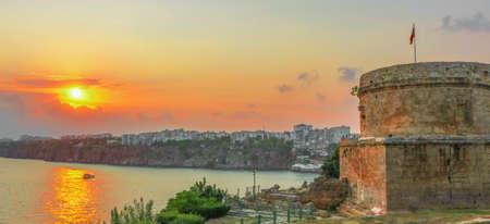 Sunset in summer. Hidirlik Tower in Antalya, Turkey. Shoot in July 2018 Editöryel