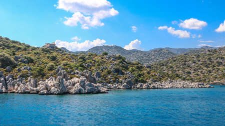 Kekova islands, next to Antalya, Turkey. Shoot from a boat in July 2018 Stok Fotoğraf