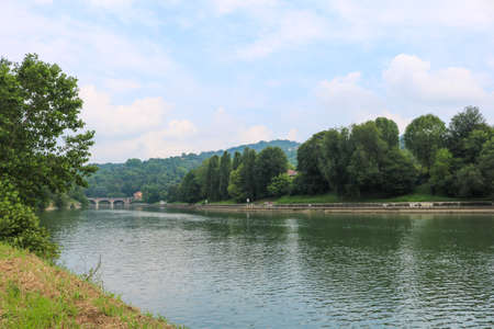 Po river during a cloudy day, Turin Italy. July 2018