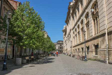 Street in Bucharest in April 2018. Central area. I have taken this photo in April 2018 during my visit of Romania Stok Fotoğraf