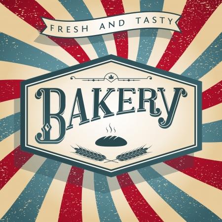 Bakery Retro Label Illustration