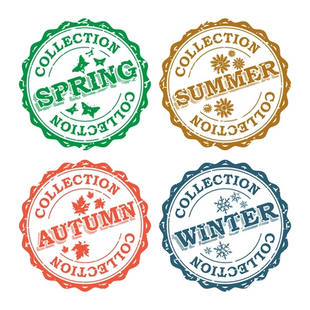 Season Stamp Collection Vector