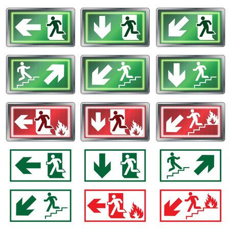 emergency light: Evacuation Signs Illustration