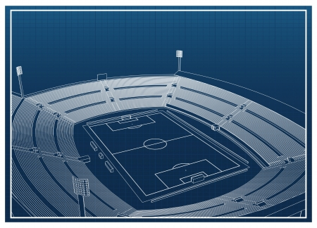 Blueprint of foodbal - soccer stadium Vector