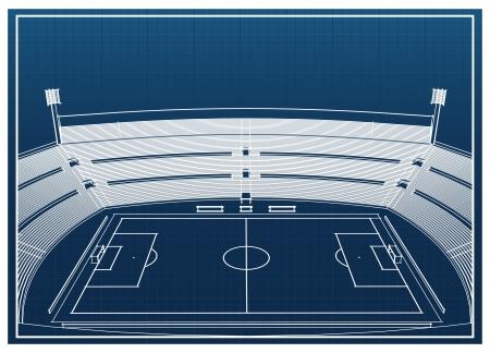 vanishing point: Blueprint of foodbal - soccer stadium