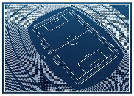 Blueprint of foodbal - soccer stadium Stock Vector - 18444064