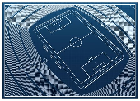 Blueprint of foodbal - soccer stadium Stock Vector - 18444064