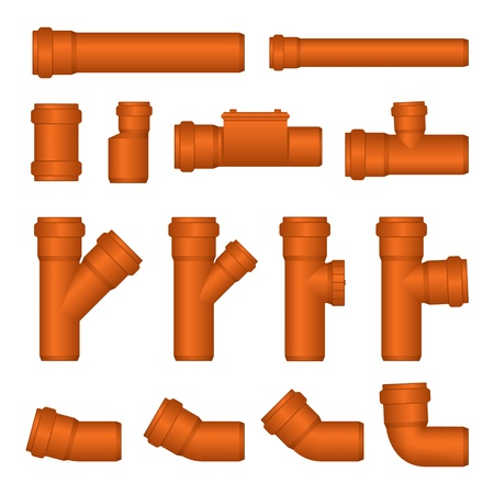 PVC Sewer Pipe and Fittings Vector