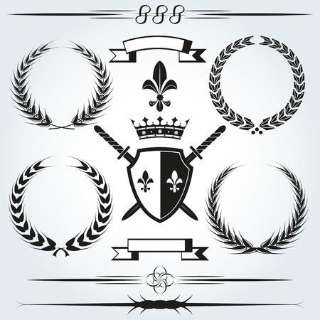 shield and sword: Vector Ornaments Illustration