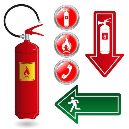 evacuacion: Signos de fuego Extintor Vectores