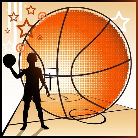 Young basketball player dreams of becoming a big star  Illustration