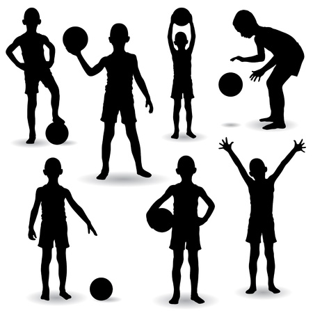 Set of seven Young Boys playing with ball Vettoriali